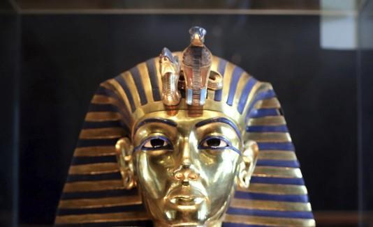 Máscara dorada de la momia de Tutankamón.