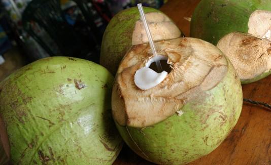 Coco con un sorbeto para tomar su agua.