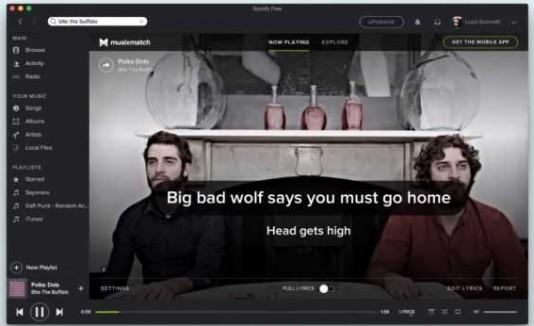 Spotify mostrando la lírica de una canción.