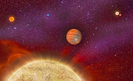 Concepto de planeta gigante que está en un sistema de 4 soles