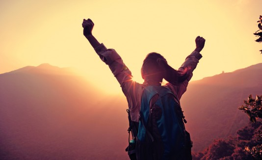 Mujer, viaje, hiking