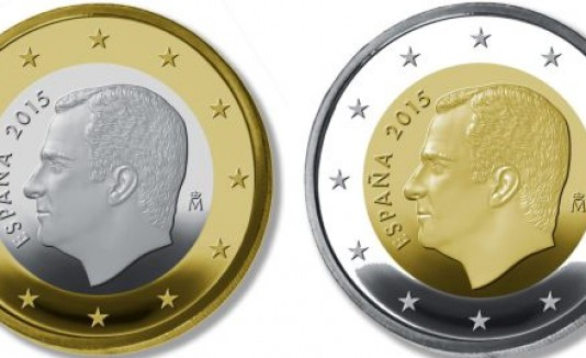 Monedas (euros) con la imagen de Felipe VI.