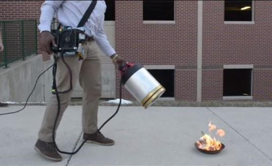 Extintor de fuego que usa sonido
