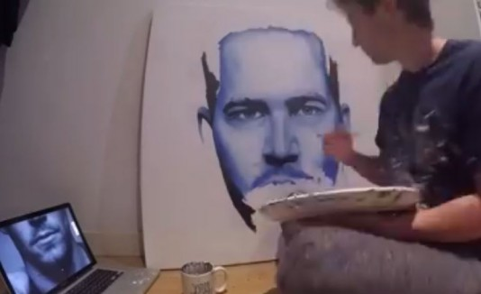 Will Thompson pintando a Paul Walker