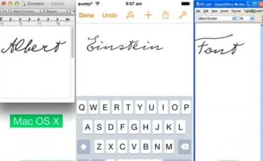 Tipografía basada en la letra de Albert Einstein