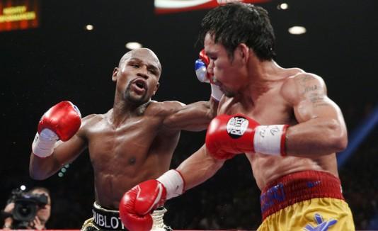 Mayweather y Pacquiao en la pelea del siglo