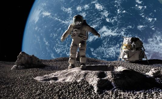 Astronautas en la Luna.