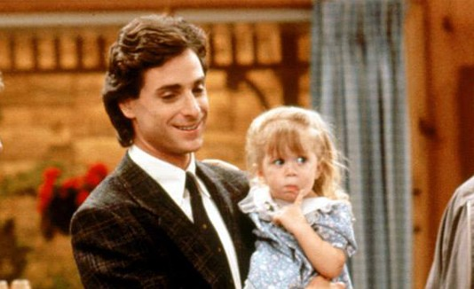 "Bob Saget y Ashley Olsen en ""Full House""."