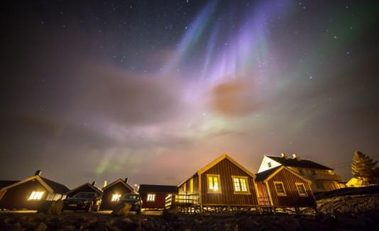 Aurora boreal en Islas Lofoten, Noruega