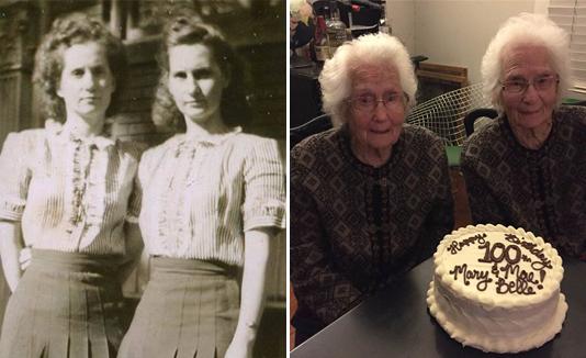 Inseparables gemelas cumplen 100 años