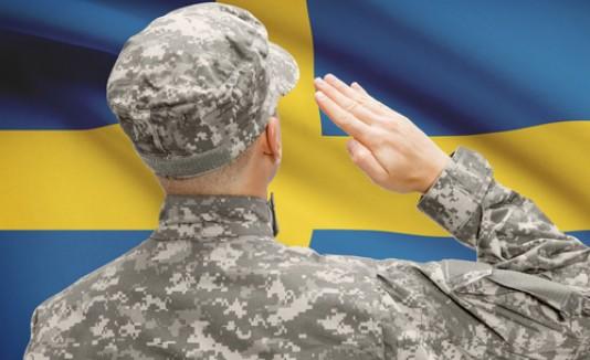 Soldado y bandera de Suecia