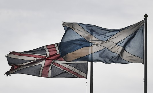 Banderas del Reino Unido y Escocia