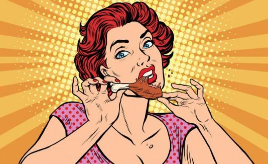 Mujer comiendo - ilustración
