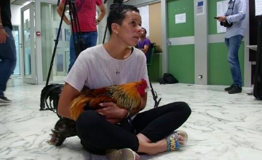 Corinne Fesseau sentada en el tribunal sostenido su gallo durante un juicio en Saint-Pierre-d'Oleron, Francia, el jueves 5 de septiembre de 2019.