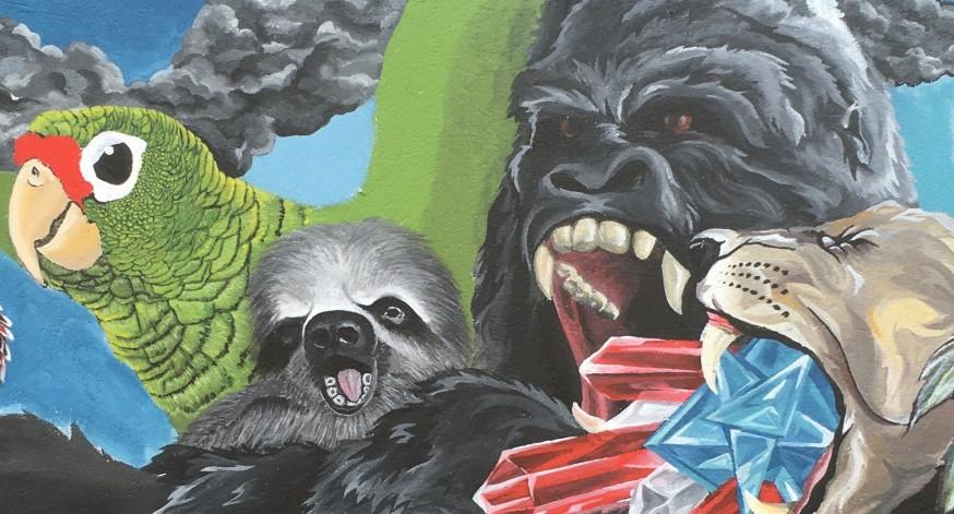 La obra del joven muralista, surgió como iniciativa del director del grupo Arecibo es 500.