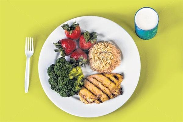 Plato de comida saludable harvard